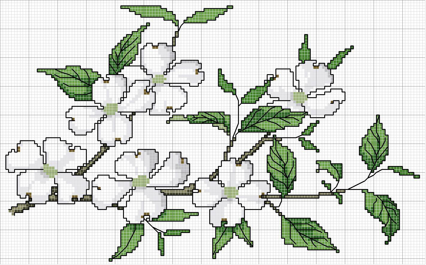 Ветка с цветами схема вышивки